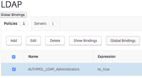 Binding a Citrix NetScaler Global LDAP Authentication Policy for